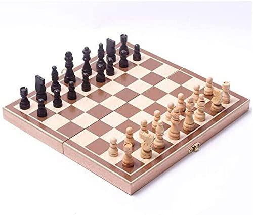 Riyyow Tablero Plegable Madera International Chess Game Pieces Set Chessmen Collection Portable Board Game Ajedrez (Size : 12in)