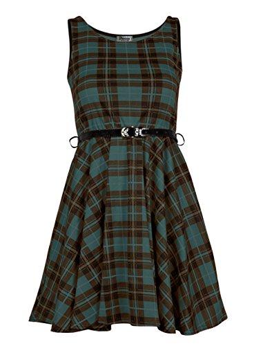 Para mujer Plus Size Tartan Check impresión con cinturón Skater vestido verde verde 52/54