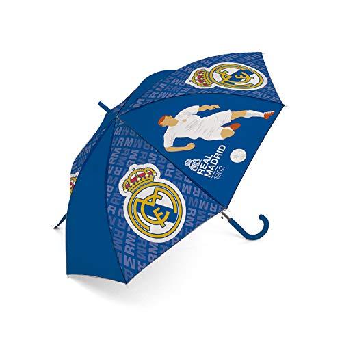 ARDITEX Real Madrid Regenschirm, Polyester, CF, 8 Seiten, Durchmesser 95 cm, automatische Öffnung, Camping, Wandern, Erwachsene, Unisex, Mehrfarbig (Mehrfarbig), Einheitsgröße