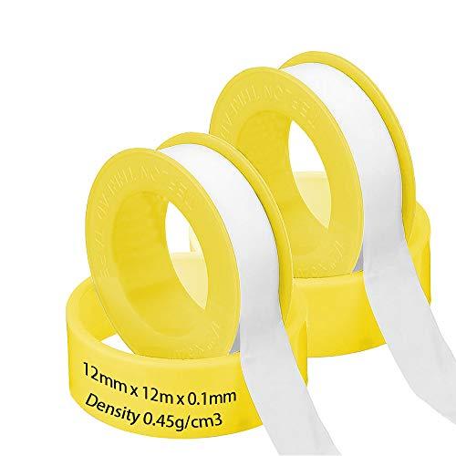 Netume - Nastro idraulico in PTFE, 2 rotoli di nastro in teflon, ad alta densità, per riparare tubi, tubi, rubinetti, valvole radiatore, 12 mm x 12 m, bianco