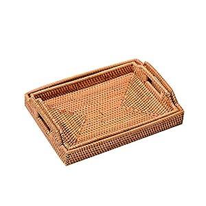 MoGist Bandeja Cuadrada de ratán, Cesta de Almacenamiento Multifuncional Snack de confitería Plato de Fruta para Sala de Estar Los 27X37X5cm