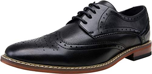 VOSTEY Men's Dress Shoes Black Oxford Shoes for Men Wingtip Brogue Formal Shoes Business Derby Shoes (10,Black)