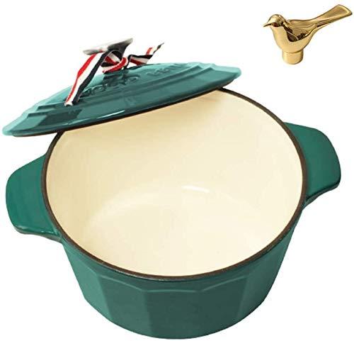 Casserole with Lid Casserole Plato con Tapa Multifuncional Multifuncional Caja de cocción Poder Holandés Horno Holandés para Braise Steam Brake Broan Saute Saute Saute Asado (Color : Green)