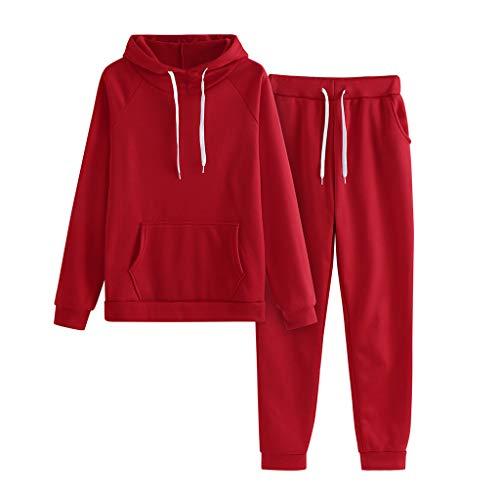 Conjuntos Deportivos Chándal Mujer con Cordón Sudadera Casuales con Capucha Comodo y Suave + Pantalones Yoga Ropa de Casa Hoodie de Deporte Fannyfuny