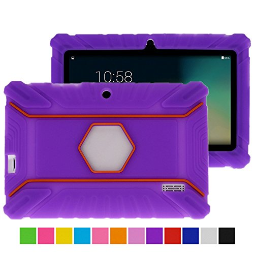 Turpro Kids Shockproof Silicone Case for Chromo Inc 7 inch, Alldaymall A88X, Dragon Touch Y88X Plus/Y88X, VURU A33, NPOLE 7 Inch Tablet (Purple)