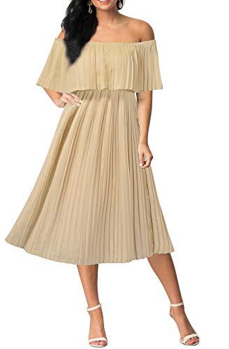 Mmondschein Women's Off Shoulder Chiffon Wedding Beach Evening Party Midi Dress Beige