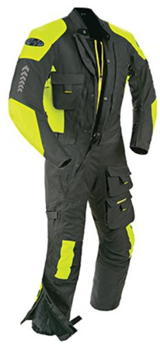 Joe Rocket - 1370-4606 Survivor Men's Waterproof 1-Piece Motorcycle Riding Suit (Black/Hi-Viz Neon, XX-Large)