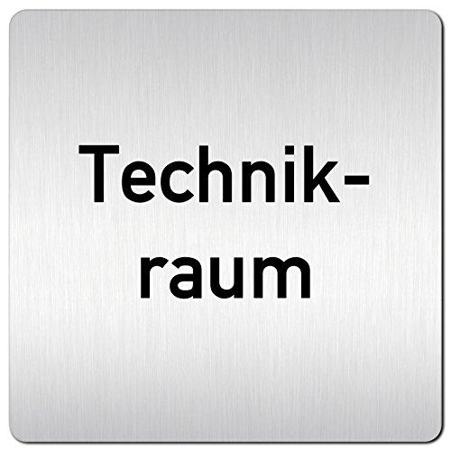Kinekt3d Leitsysteme XXL Schild - Türschild • 125 x 125 mm • Technikraum Technik • 1,5 mm Aluminium Vollmaterial • 100% Made in Germany