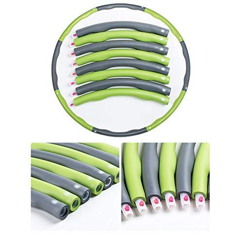 J-power Hula-Hoop Niños Mujeres Fitness Ajustable Removible Hula Hoop Gym Colorful Hula (Verde)