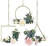 Pauwer Deko Kranz 3er Set mit Metall Ringe Hoop Künstliche Pfingstrose Eukalyptus Wandkranz Türkranz Für Outdoor Hochzeiten Zuhause
