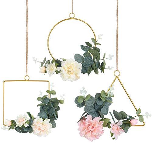 Pauwer Juego de 3 coronas decorativas con anillos de metal y peonías artificiales, de eucalipto para la pared o la puerta, para exteriores, bodas y el hogar (juego de 3)