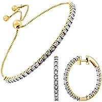 1/2 ct Diamond Hoop Earring & Bolo Bracelet Set in 14K Gold-Plated Sterling Silver
