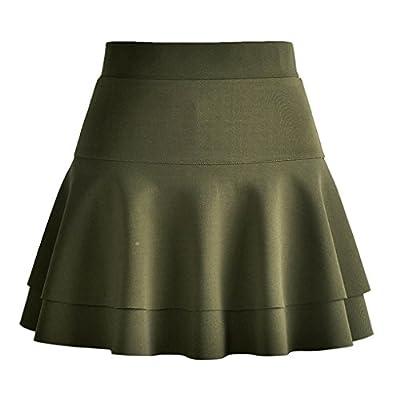 Naughtyspring Womens Basic A line Skater Full Midi Skirt Double Layer Skirt