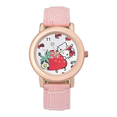 Hello Kitty CartoonLadies Reloj de cuarzo de cuero 2266 espejo de cristal redondo rosa accesorios casuales moda temperamento 1.5 pulgadas