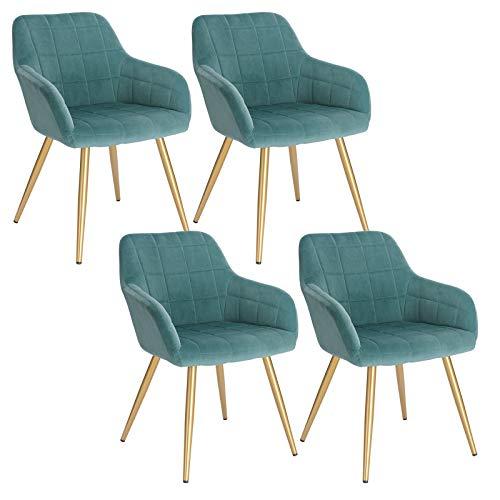 WOLTU 4 x Esszimmerstühle 4er Set Esszimmerstuhl Küchenstuhl Polsterstuhl Design Stuhl mit Armlehne, mit Sitzfläche aus Samt, Gestell aus Metall, Gold Beine, Türkis, BH232ts-4