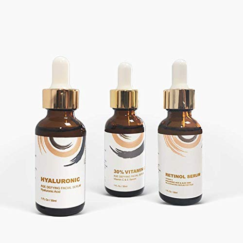 3 Piece Anti-Aging and Facial Serum Set with Retinol, Vitamin C, Hyaluronic Acid, Revitalizing and Hydrating Retinol Face Serum Set