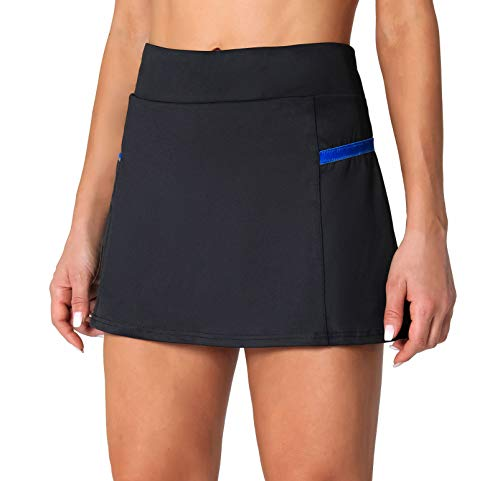 POSHDIVAH Women's Athletic Skirts with Built-in Shorts Skorts for Tennis Golf Running Workout and Casual Black L