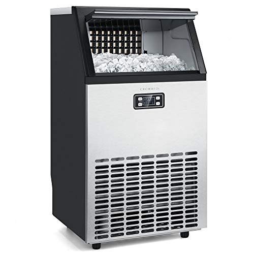 Crownful Commercial Ice Maker Machine, Stainless Steel Ice Machine with 29 Lbs Ice Storage Capacity 100 Lbs in 24h, Free-Standing Ice Maker Machine Ideal for Home, Office, Restaurant, Bar, Coffee Shop