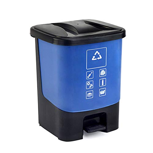 Cubo de Basura Bote de Basura de plástico al Aire Libre Cocina en el hogar Tipo Pedestal   Parque Recipiente de Basura de Gran Capacidad, ecológico, Duradero Papeleras (Color : Blue)