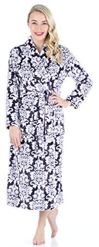PajamaMania Women's Plush Fleece Long Non-Hooded Robe, Purple & White Floral, XL