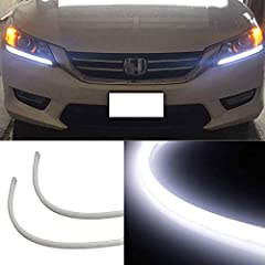 Compatible with Honda Accord 2013-2015 4-door sedan DX LX EX SE models with incandescent bulb parking light headlamp (also fit the coupe version but require to remove the headlamp in order to install this product) Each flexible LED strip light is pow...
