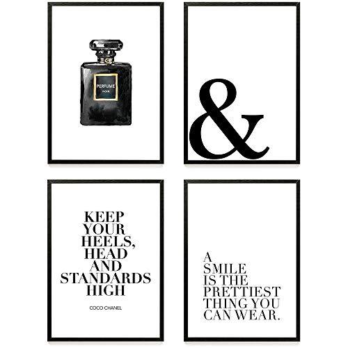 Heimlich ® Premium Poster Set | Stilvolles Set mit passenden Bilder in Schwarz-Weiß | 4 Stück in DIN A3 (30x42cm) | ohne Bilderrahmen » Coco Perfume «
