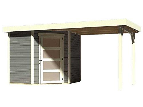Karibu Woodfeeling Gartenhaus Schwandorf 3 terragrau mit Anbaudach 2,25 Meter
