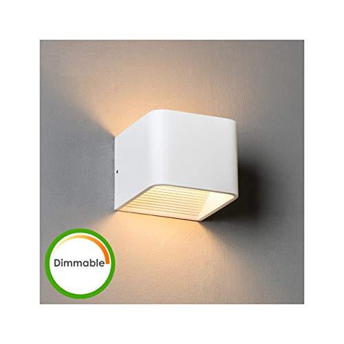 KOSILUM - Applique Murale LED 6W compatible avec variateur - Quadra 10cm - Lumière Blanc Chaud Eclairage Salon Chambre Cuisine Couloir - 6W - 380 lm - LED intégrée - IP20