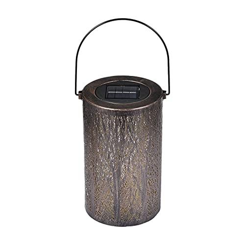 Xuanshengjia Lámpara de atmósfera de patio perforada de hierro forjado solar, Lámpara de proyección de bosque solar, Lámpara de atmósfera, Lámpara decorativa de metal retro
