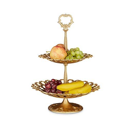 Relaxdays Etagere Metall mit 2 Ebenen HBT: 44 x 31 x 31 cm Servierplatte aus Aluminium zweistöckig für Obst, Kekse und Knabberzeug Servierteller als Dessertteller oder Obstetagere, gold