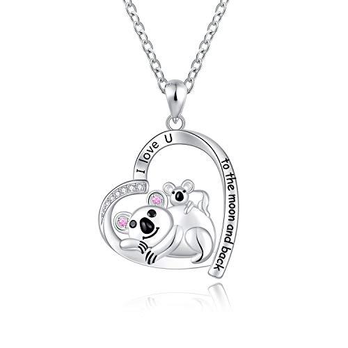 Cute Koala Bear Pendant Necklace Girls Sterling Silver Mother Daughter Sister Friendship Jewelry Gift for Women