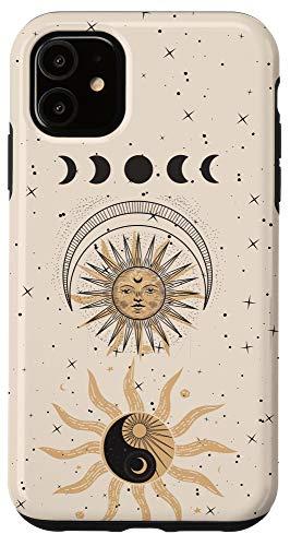 iPhone 11 Mystical Tarot Card Aesthetic Sun Moon Phases Yin Yang Space Case