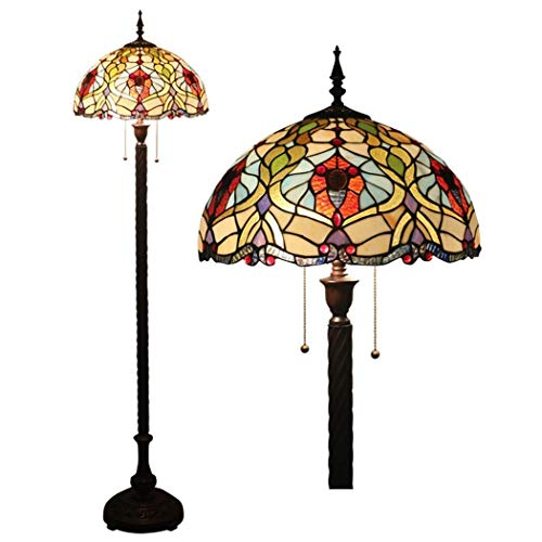 16 Inch Tiffany Style Baroque Floor Lamps Vintage Stained Glass Shade Floor Lights Zipper Switch Decoration Reading Lamps for Living Room Bedroom bar Cafe