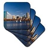 3dRose USA, Massachusetts, Boston. Walter Bibikow - Juego de 4 posavasos blandos para bahía de espalda, diseño de sol, US22 WBI0556
