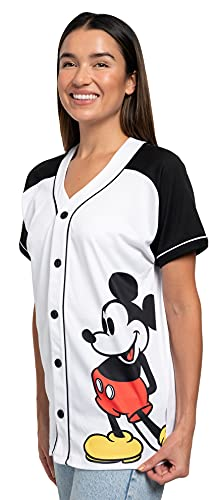 Disney Mickey Mouse Woman's Jersey Shirt Button Down Front Print Back 28