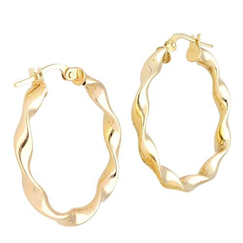 Jollys Jewellers - Pendientes de aro de oro amarillo de 9 quilates (25 mm de diámetro)