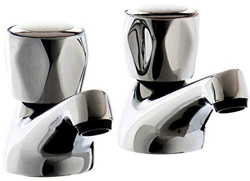 VeeBath VB-CONT04 - Grifos para lavabo agua caliente y fría, 2 unidades
