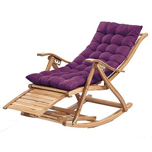 Chaises longues ZR en Bambou Ajustable Chaise À Bascule pour Balcon Jardin Extérieur Balancelle Chaise Senior Siesta pour Homme avec Massage des Pieds, Coussin Amovible (Color : Chair+Short Pad)