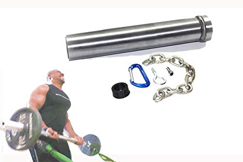 ALLN-1 F2 Adapter: 12' inch long - 2' Olympic Sleeve, Loading Pin, Resistance Band Connector, Chain Collar, and Yoke Stack 1' or 1.25' Bars with High Capacity Carabiner and Chain (Patent Pending)