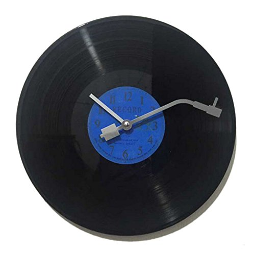 ラウンド CD 黒ビニールレコード デザイン ウォールクロック 壁掛け 時計 装飾 贈り物 青, 30cm