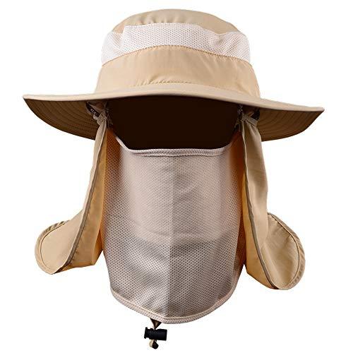 QYWSJ Breiter Krempe Angeln Hut Sonnenhüte, Schnell Trocknende Atmungsaktive Outdoor-Kappen Für Männer Frauen, Nackenklappe, Uv-Schutz