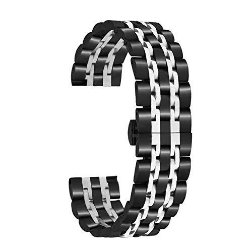 Romacci Pulseiras de relógio de aço inoxidável de 22 mm com ponta reta pulseira de liberação rápida Pulseira de relógio polida com fivela borboleta compatível com relógio inteligente / tradicional de 22 mm