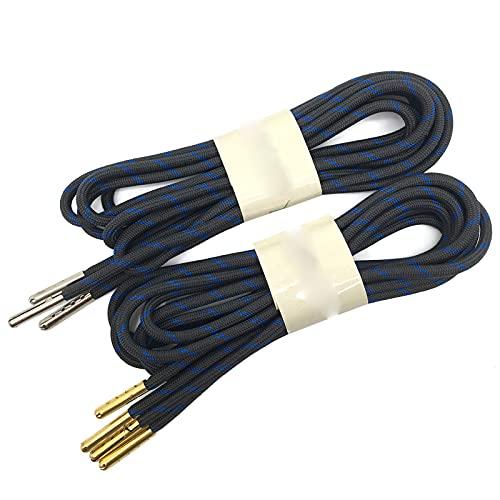 Friendshiy cordones redondos, cordones de senderismo gruesos 1/5 pulgadas con puntas de metal, botas de escalada, (13 Dark Gray Blue), 100