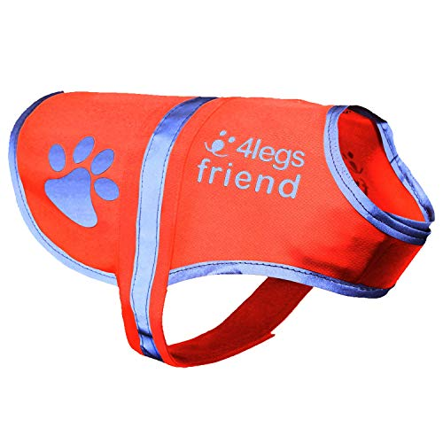 4LegsFriend Safety Reflective Dog Vest (5 Sizes, Small) - High Visibility for Outdoor Activity Day and Night Keep Your Dog Visible, Safe from Cars & Hunting Accidents | Blaze Orange