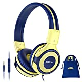 SIMOLIO Kids Headphones with Microphone, 75dB-85dB-94dB Volume Limited Headphone Share Port, On-Ear Wired Headphone with AUX Jack, Foldable & Durable Headphones for Children, Teens, Adults(Yellow)