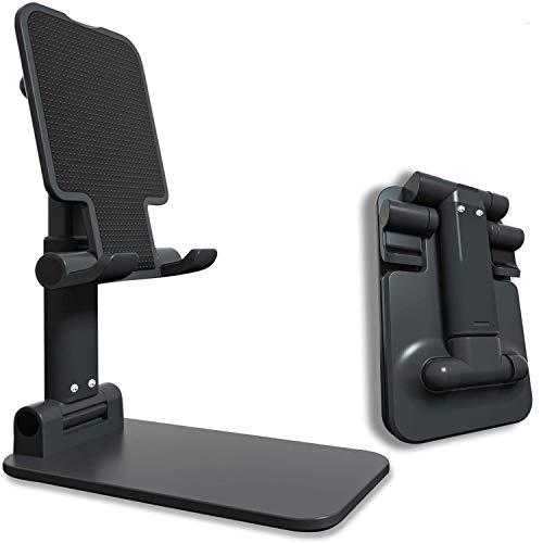 ZHIKE スマホスタンド 高度 角度調整可能 携帯電話ホルダー,携帯電話スタンド 卓上スタンド タブレットスタンド iphoneスタンド 充電スタンド 折り畳み式 ,アルミニウム合金 , 持ち運びやすい, 滑り止め,軽量 置台 旅行用,ipad,iPhone 11 Series/XS/XR/X/ 8/8 Plus,サムスンGalaxy S10 S9 S8 Plusなど(4-9.7インチ)に対応(ブラック)