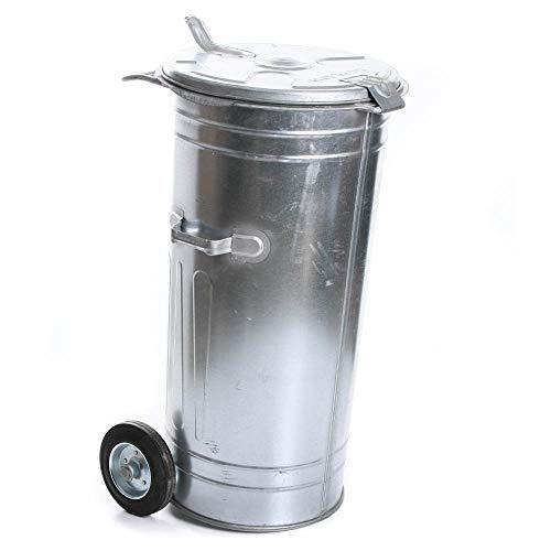 rg-vertrieb Mülltonne Müllbehälter Verzinkt 110L mit Deckel und Rädern Behälter Abfalltonne Müllgroßbehälter Stahlblech Metallbehälter