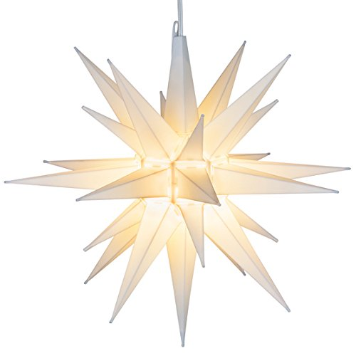 Elf Logic - 14' Moravian Star - Improved Easy Assembly - Beautiful Bright White 3D Lighted Hanging Christmas Star or Tree Topper - Advent Star, Bethlehem Star (14 Inch, LED)
