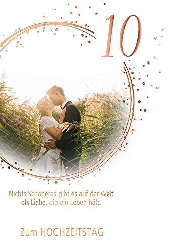 KE - Karte zum 10. Hochzeitstag - Hochzeitstag Karte - Karte Hochzeitstag im Set - DIN B6 - Klappkarten inkl. Umschlag - Motiv: 10