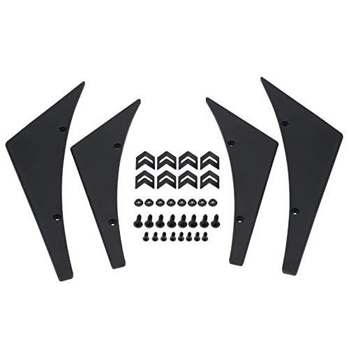 KIMISS Karosserie-Spoiler, 4-TLG. Frontstoßstange Lip Splitter Flossen Canards Karosserie-Spoiler Universal(schwarz)